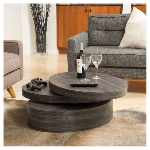 Carson Small Oval Rotatable Coffee Table Black Oak Christopher Knight Home Target