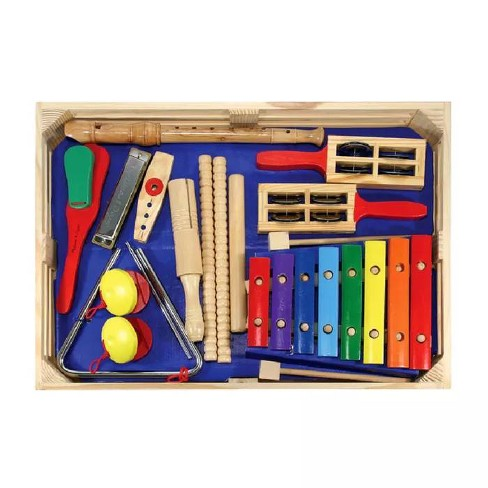 Melissa Doug Deluxe Band Set With Wooden Musical Instruments And Storage Case