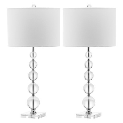 "(Set of 2) 29"" Liam Stacked Crystal Ball Lamp Clear (Includes CFL Light Bulb) - Safavieh"