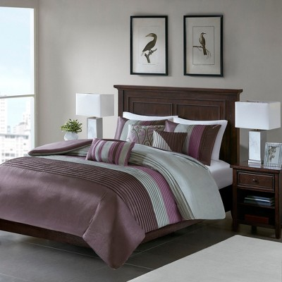 6pc Salem Pleated Colorblock Duvet Cover Set