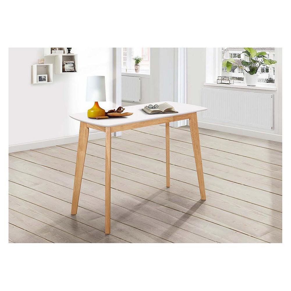 42 Retro Modern Wood Writing Desk - White/Natural - Saracina Home