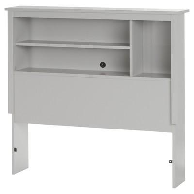 Reevo Bookcase Headboard - Twin - Soft Gray - South Shore