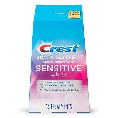 Crest 3D Whitestrips Sensitive White Teeth Whitening Kit with Hydrogen Peroxide - 13 Treatments