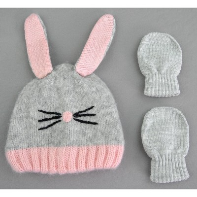 Toddler Girls' Knit Bunny Hat and Mitten Set - Cat & Jack™ Pink 12-24M