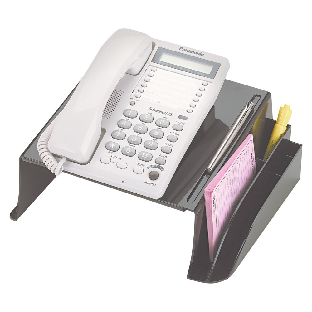 Telephone Stand Officemate, Black Properly positions your telephone while helping to organize your desk. Space underneath stand for telephone book or note pad when not in use. Pen holder and compartments stores pens, pencils, notepads and more—leaving your area neat at all times. Non-skid rubber pads protects worksurface from scratches. Stand Type: Telephone; Width: 12 1/4; Depth: 10 1/2 ; Maximum Height: 5 1/4 . Color: Black.