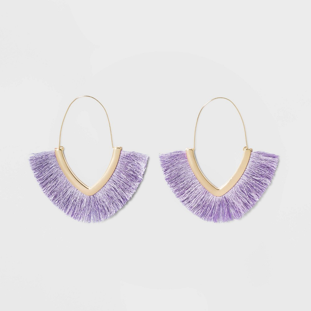 Sugarfix by BaubleBar Fringe Hoop Earrings - Heathered Lilac, Women's