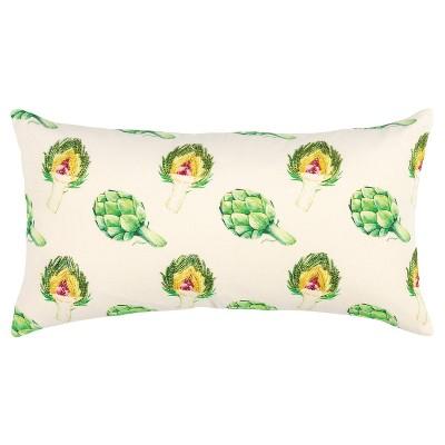 "14""x26"" Oversized Artichokes Lumbar Throw Pillow Green - Rizzy Home"