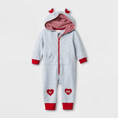 Baby Boys' Valentines Day Heart Patch Romper - Cat & Jack™ Gray 0-3M