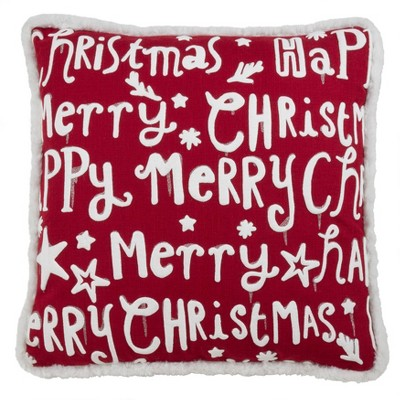 "18""x18"" Merry Happy Christmas Poly Filled Throw Pillow Red - Saro Lifestyle"