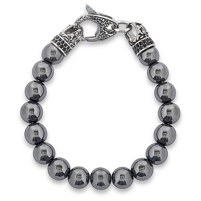 fb86067d32053 Men's Crucible Stainless Steel Dragon with Polished Hematite Onyx Beaded  Bracelet