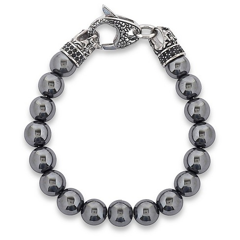 Men's Crucible Stainless Steel Dragon with Polished Hematite Onyx Beaded Bracelet - image 1 of 3