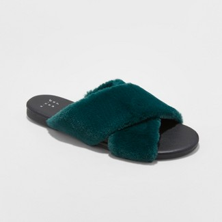 Women's Frannie Crossband Faux Fur Slide Sandals - A New Day™ Green 9.5