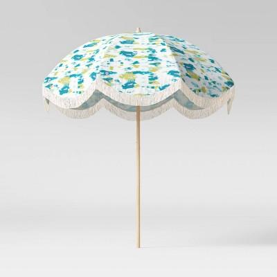 7.5' Round Scalloped Fringe Patio Umbrella DuraSeason Fabric™ Tie Dye - Opalhouse™