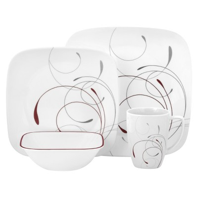 Corelle 16pc Vitrelle Square Splendor Dinnerware Set