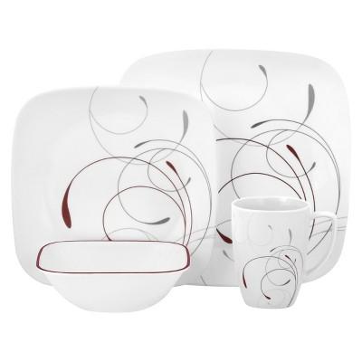 Corelle® Square™ 16pc Dinnerware Set Splendor Red : Target