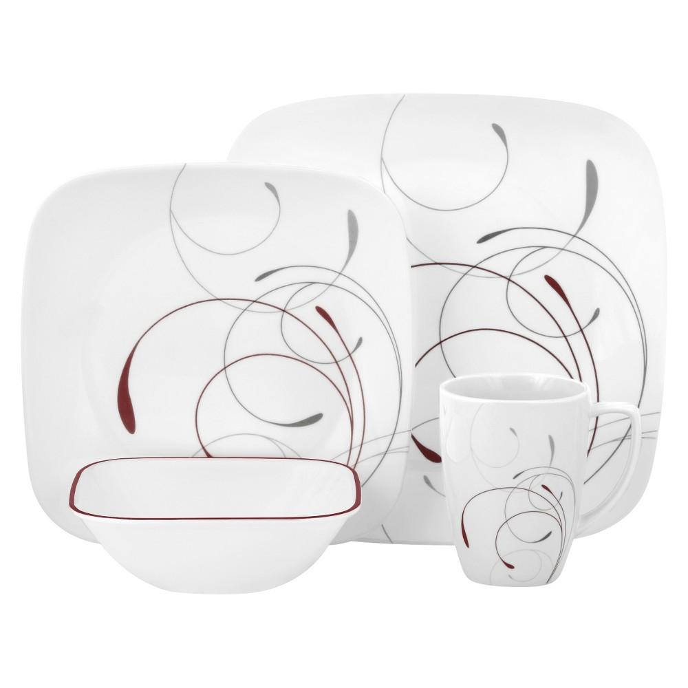 Image of Corelle 16pc Vitrelle Square Splendor Dinnerware Set Red