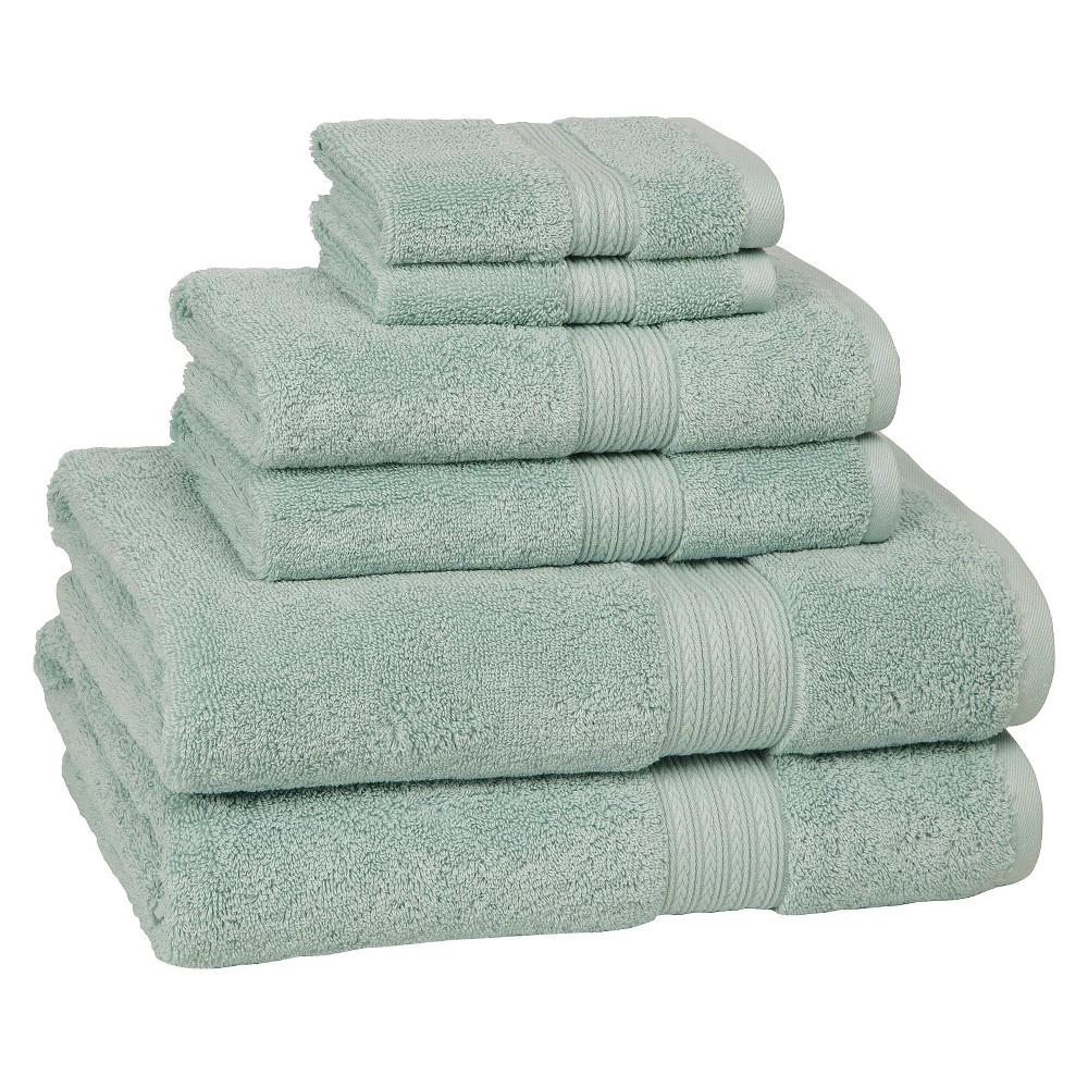 6pc Signature Solid Bath Towel Set Aqua Cassadecor