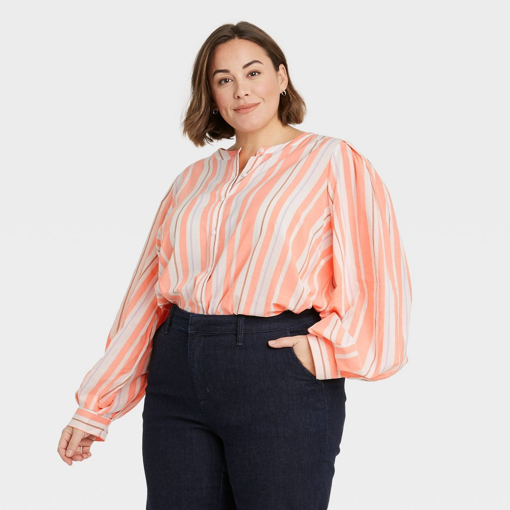 Women 39 S Plus Size Multi Striped Long Sleeve Button