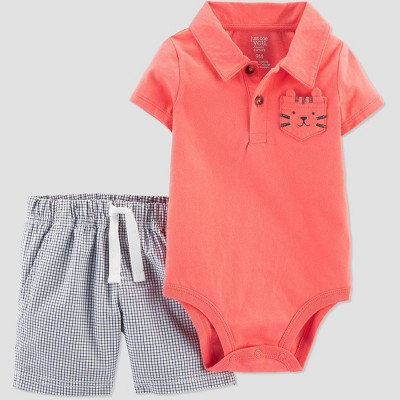 Baby Boys' 2pc Tiger Top & Bottom Set - Just One You® made by carter's Coral 9M