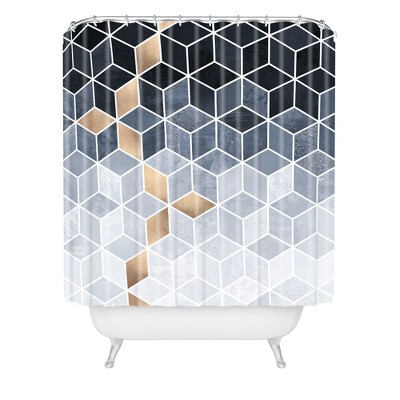 Elisabeth Fredriksson Soft Blue Gradient Cubes Shower Curtain Black - Deny Designs