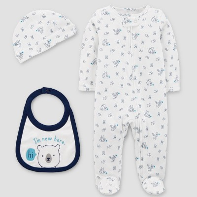 Baby Boys' Sleep N' Play Hat and Bib Set - Just One You® made by carter's White Newborn