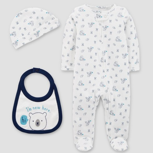 Baby Boys' Sleep N' Play, Hat and Bib Set - Just One You™ Made by Carter's®  White - image 1 of 1