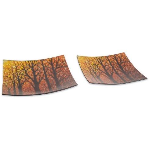 "Melrose Set of 2 Orange and Black Woodland Autumn Harvest Glass Platters 13"" - image 1 of 1"