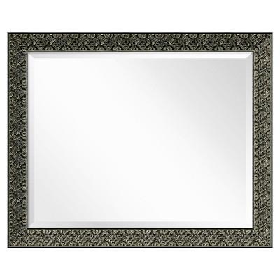 "33"" x 27"" Intaglio Embossed Black Framed Wall Mirror - Amanti Art"