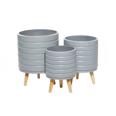 Set of 3 Contemporary Wood Striped Planters Gray - Olivia & May