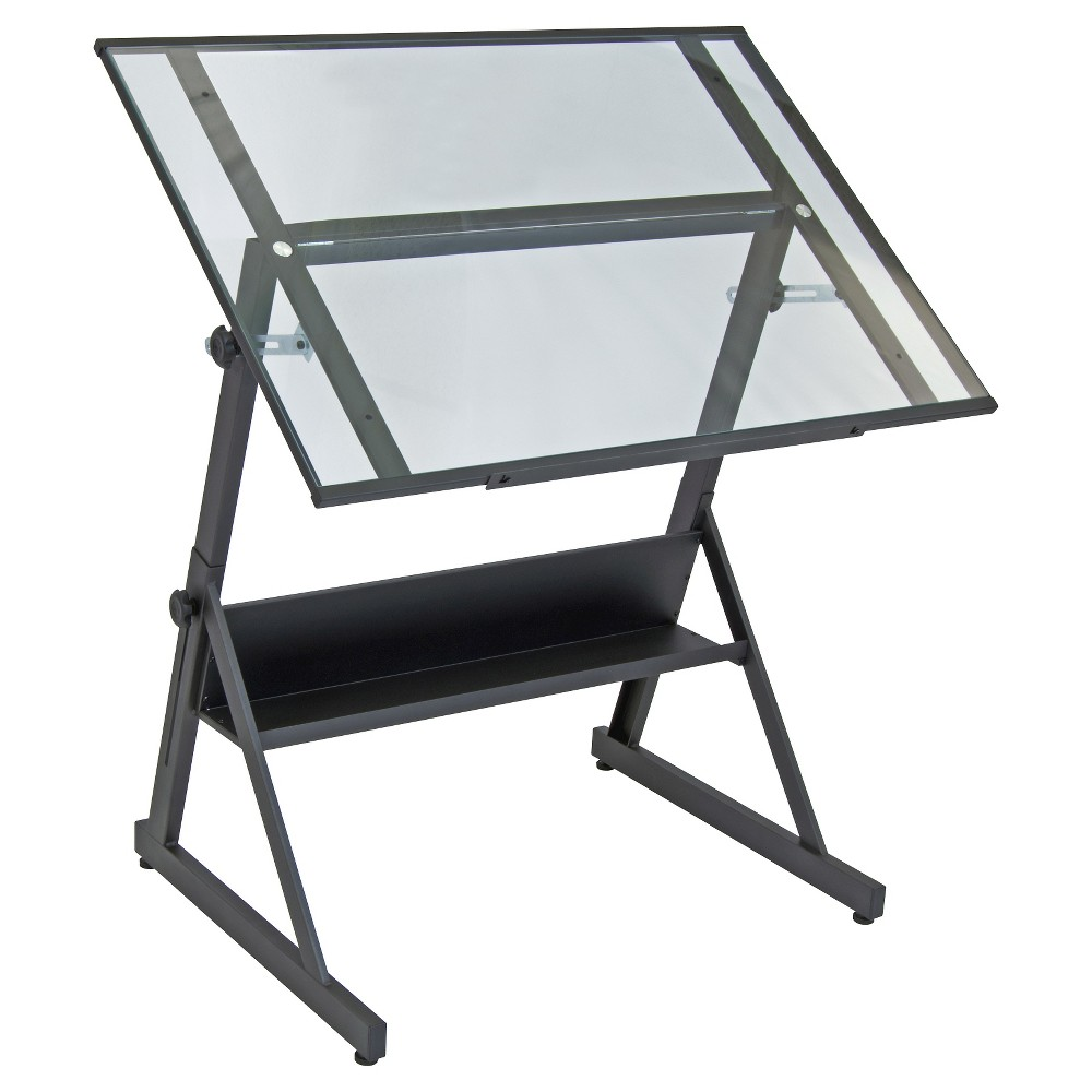 Solano Adjustable Tilt Table - Charcoal/Clear Glass, Grey/Clear Glass