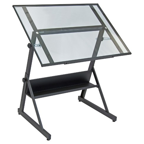 Solano Adjustable Tilt Table - Charcoal/Clear Glass - image 1 of 3