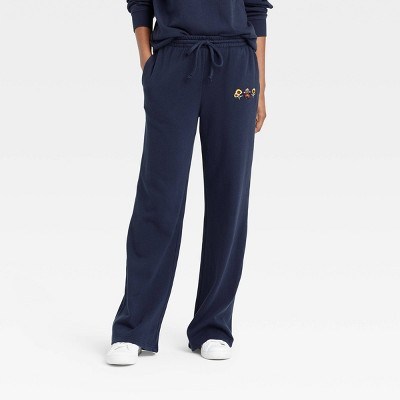 Women's Smokey Bear Wide Leg Graphic Jogger Pants - Navy