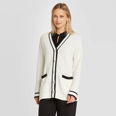 Women's Long Sleeve Button-Front Varsity Cardigan - Who What Wear™ White - image 1 of 3