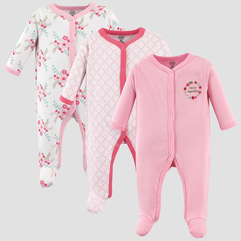 Luvable Friends Baby Girls' Floral Sleep 'N Play Pajama Set - Pink 0-3M