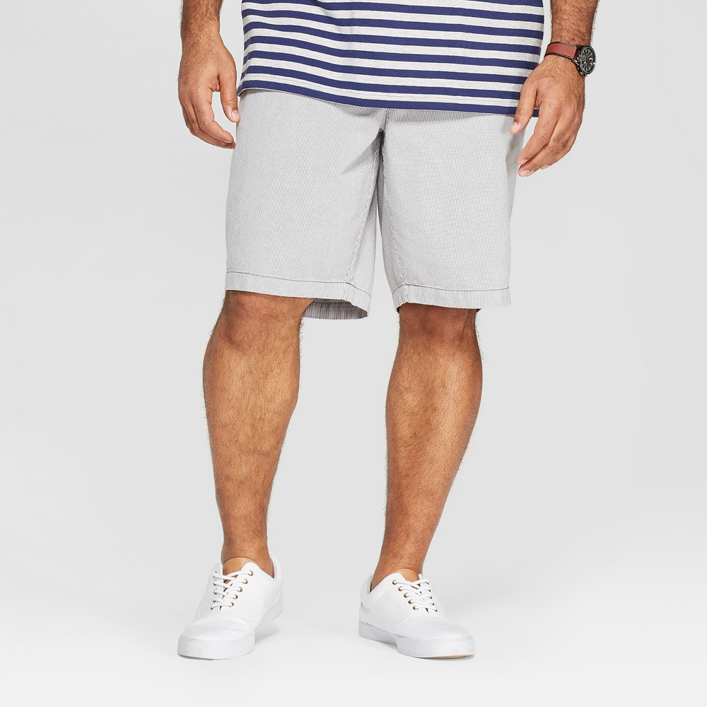 Men's Big & Tall 10.5 Striped Chino Shorts - Goodfellow & Co Gray 44