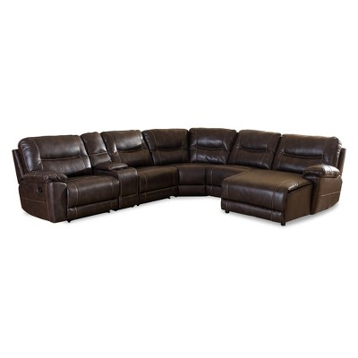 6pc Mistral Modern and Contemporary Bonded Leather Sectional with Recliners Corner Lounge Suite Dark Brown - Baxton Studio