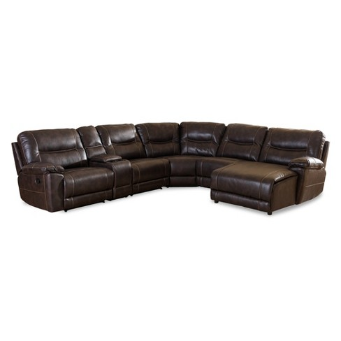Mistral Modern and Contemporary Bonded Leather 6 - Piece Sectional with Recliners Corner Lounge Suite - Dark Brown - Baxton Studio - image 1 of 4