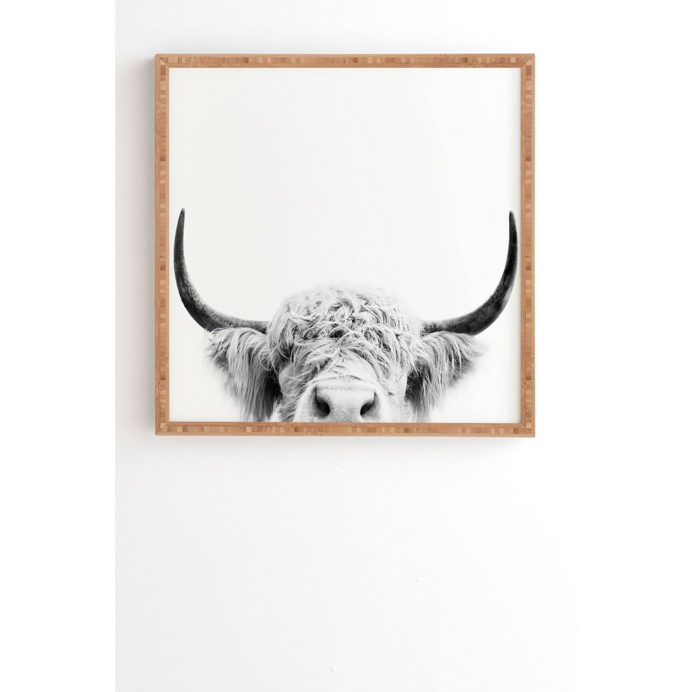 "Image of ""12"""" x 12"""" Sisi and Seb Peeking Highland Cow Framed Wall Art Gray - Deny Designs, Size: 12""""x12"""""""