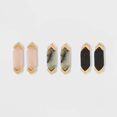 Geo Semiprecious Stone Multi Earring Set 3ct - Universal Thread™ Gold