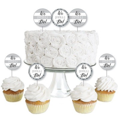 Big Dot of Happiness We Still Do - Wedding Anniversary - Dessert Cupcake Toppers - Anniversary Party Clear Treat Picks - Set of 24