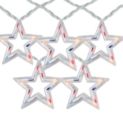 Northlight 5-Count Red and Blue Patriotic Fourth of July Star Light Set, 6ft White Wire
