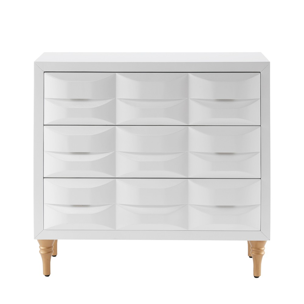 Kat 3 Drawer Chest White, Decorative Storage Drawers