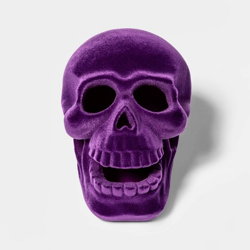 Purple Resin Flocked Skull Halloween Decoration Small - Hyde & EEK! Boutique™ - image 1 of 2