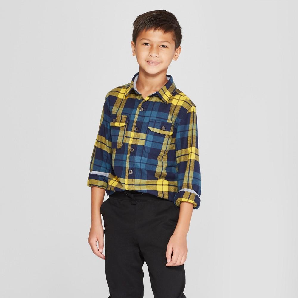 Boys' Flannel Long Sleeve Button-Down Shirt - Cat & Jack Yellow/Blue XL Husky