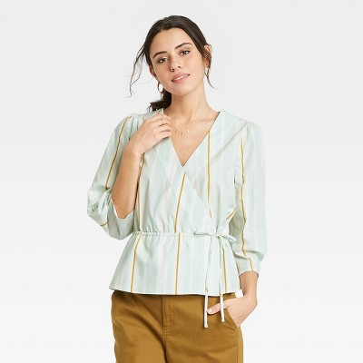 Women's Long Sleeve Wrap Top - A New Day™