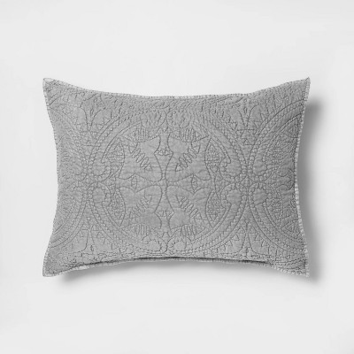 Standard Medallion Stitch Pillow Sham Gray - Opalhouse™