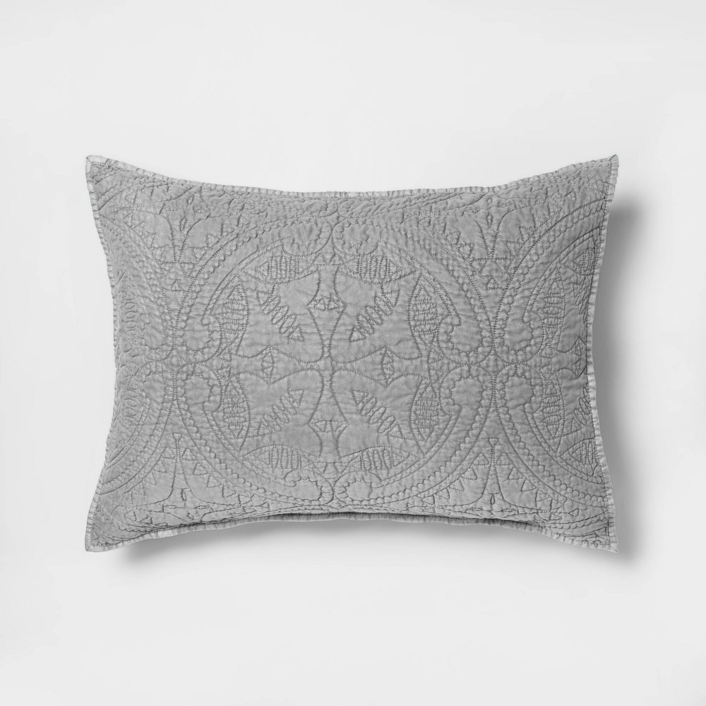 Standard Stitched Medallion Pillow Sham Gray - Opalhouse, Grey