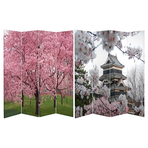 Cherry Blossoms Double Sided Room Divider - Oriental Furniture - image 1 of 3