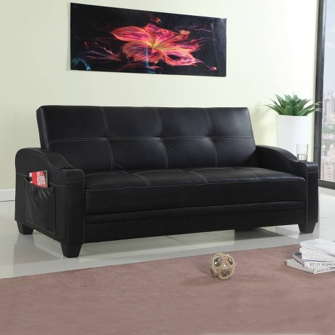 Faux Leather Sofa Bed 3 Seater Black - Home Source : Target