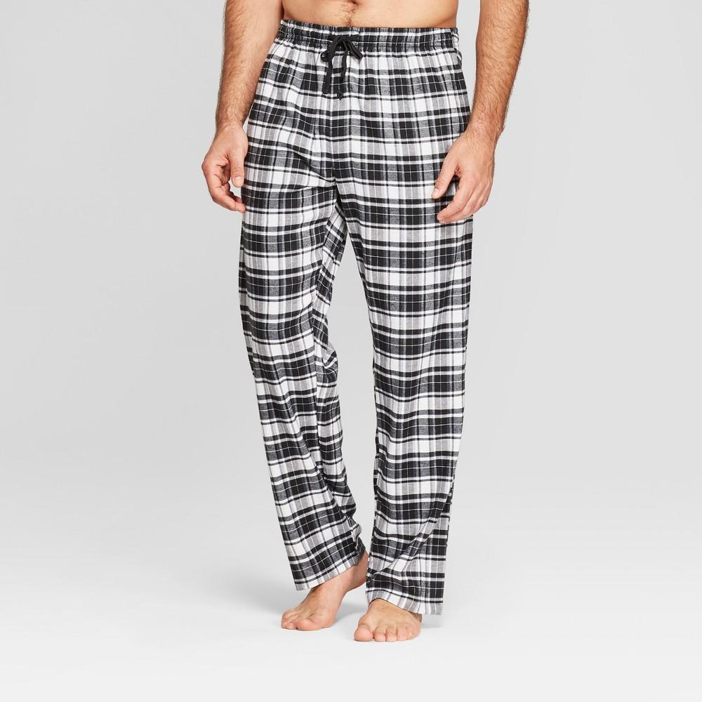 Men's Plaid Hanes Premium Stretch Flannel Pajama Pants - Black L